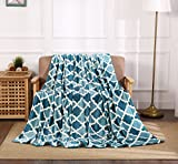 All American Collection New Super Soft Printed Throw Blanket (Queen Size, Teal/Aqua Trellis)