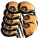 wazaki Japan 14K Gold Finish Cyclone 4-SW Mx Steel Hybrid Irons Golf Club Set+Headcover (Regular Flex,Pro Gold Graphite Shaft,Right Handed,Limited Edition,Pack of 16)