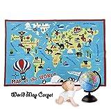 FADFAY Kids Rug World Map Carpet Children's Rug 39''59'