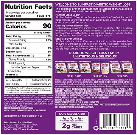 SlimFast Diabetic Weight Loss Snack, Peanut Butter Cup (14 Count of 0.6 Oz Cups Each), 8.4 Oz 2