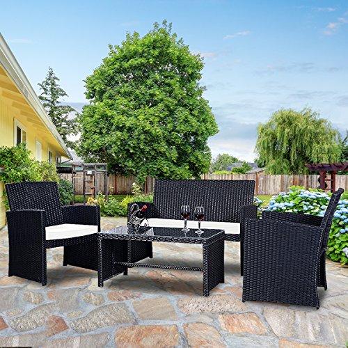 Goplus 4 PC Rattan Patio Furniture Set Garden Lawn Sofa Cushioned Seat Wicker Sofa (Black)