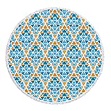 iPrint Thick Round Beach Towel Blanket,Yellow and Blue,Diamond Shaped Triangle Geometric Fractal Mosaic Traditional Motif,Aqua Teal Marigold,Multi-Purpose Beach Throw