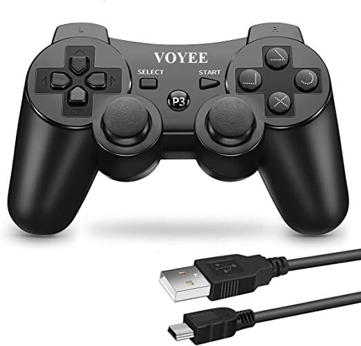 VOYEE PS3 Controller Wireless Remote with Upgraded Joystick for Sony Playstation 3 (Black)