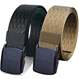 WYuZe 2 Pack Nylon Belt Outdoor Military Web Belt 1.5' Men Tactical Webbing Belt (black brown-below 50')