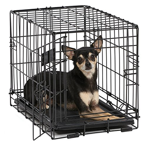 Dog Crate | MidWest iCrate XXS Folding Metal Dog Crate w/ Divider Panel, Floor Protecting Feet & Leak-Proof Dog Tray | 18L x 12W x 14H Inches, Toy Dog Breed, Black