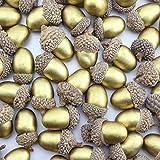 AuldHome Gold Acorns (60-Pack), Decorative Artificial Acorns for Farmhouse Crafts, Christmas & Seasonal Decor