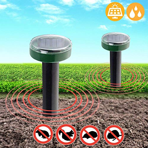 Mole Repeller Solar Powered (2 Pack) - Ultrasonic Gopher Repellent - Chaser of Moles, Voles, Gophers, and Pest Control - Ground Spikes For Outdoor Garden Yard and Garden - no Need for Poison or Traps