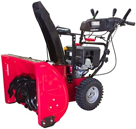 Amazon Com Powersmart 24 In 212cc Two Stage Electric Start Gas Snow Blower With Headlight Garden Outdoor