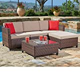SUNCROWN Outdoor Sectional Sofa (5-Piece Set) All-Weather Brown Checkered Wicker Furniture with Brown Seat Cushions & Modern Glass Coffee Table | Patio, Backyard, Pool | Incl. Waterproof Cover