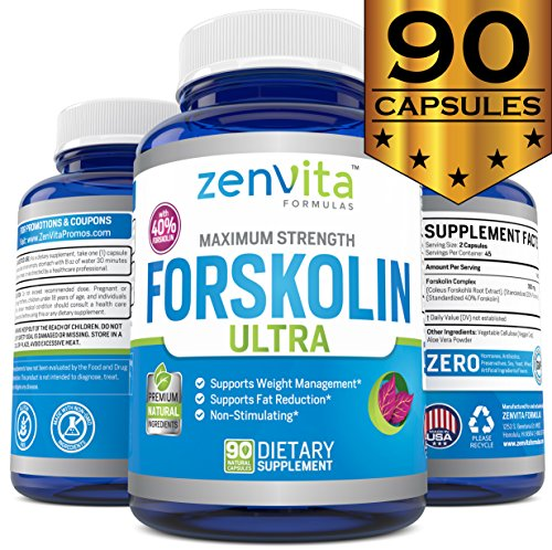 Pure Forskolin Extract 600mg - 90 Capsules w/40% Standardized Forskolin, Non-GMO & Gluten Free, Appetite Suppressant, MAX Strength Belly Fat Burner, Carb Blocker, Weight Loss Supplement