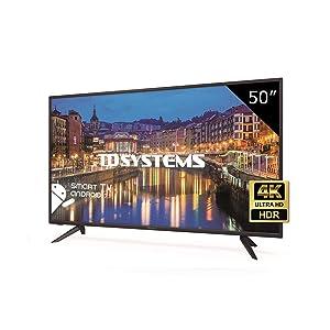 TD Systems K50DLH8US - Téléviseur 50 Pouces LED Ultra HD 4K Smart, résolution 3840 x 2160, HDR10, 3X HDMI, VGA, 2X USB, Smart TV.