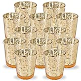 Just Artifacts Mercury Glass Votive Candle Holder 2.75' H (12pcs, Speckled Gold) -Mercury Glass Votive Tealight Candle Holders for Weddings, Parties and Home Decor