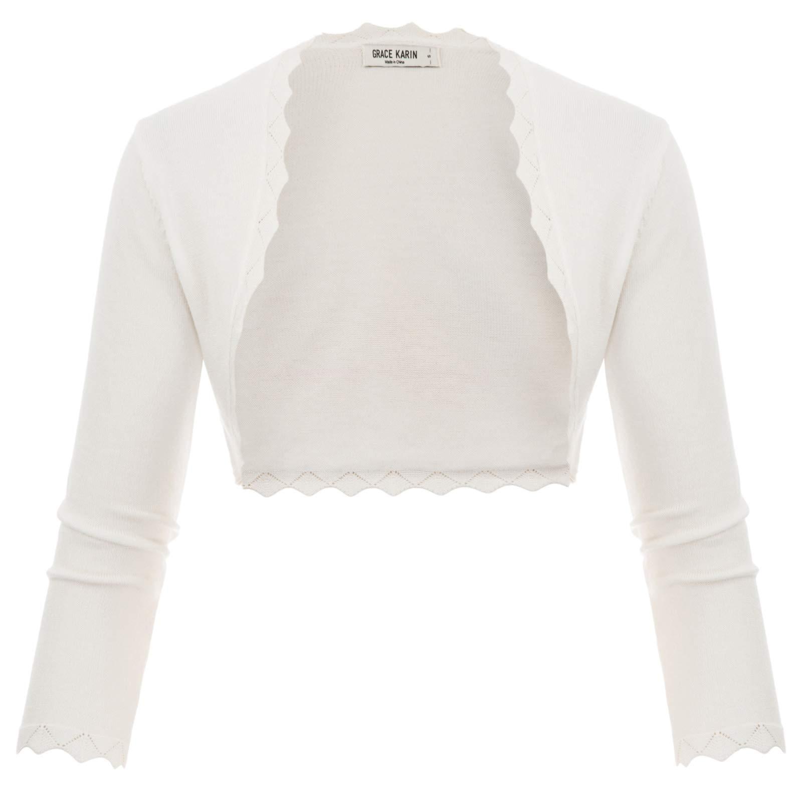 16abe425e3d GRACE KARIN Women's 3/4 Sleeve Open Front Scalloped Knit Cropped Bolero  Shrug Cardigan · Women's Shrug Sweaters