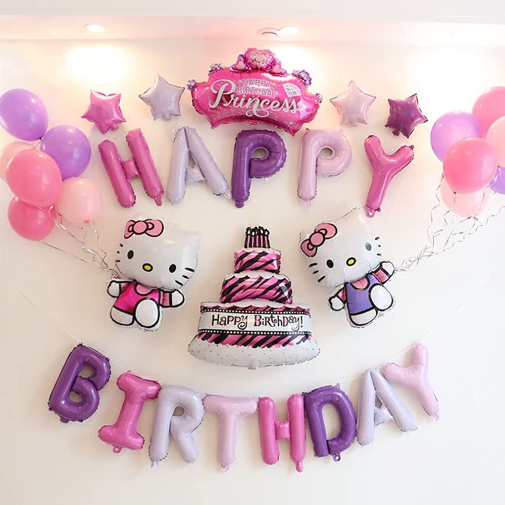 Amazon Com Cutetrees Hello Kitty Theme 1st 2nd 3rd 4th 5th 6th 7th 8th 9th Birthday Party Cake Crown Foil Balloons Latex Balloons Party Supplies Party Decoration Birthday Decorations 33 Pcs Toys