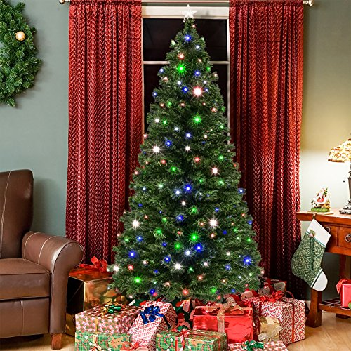 7ft Pre-Lit Fiber Optic Artificial Christmas Pine Tree