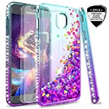 Galaxy J7 Refine/J7 2018/J7 Star/J7 Top/J7 Aura/J7 Aero/J7 Crown/J7 Eon Glitter Case with Tempered Glass Screen Protector for Girls,LeYi Bling Diamond Liquid Case for Samsung J7 V 2nd Gen Teal/Purple