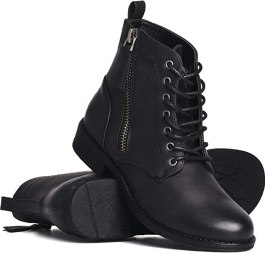 Harlow Avery Womens Vegan Leather Lace up Boot with Rubber Sole Black