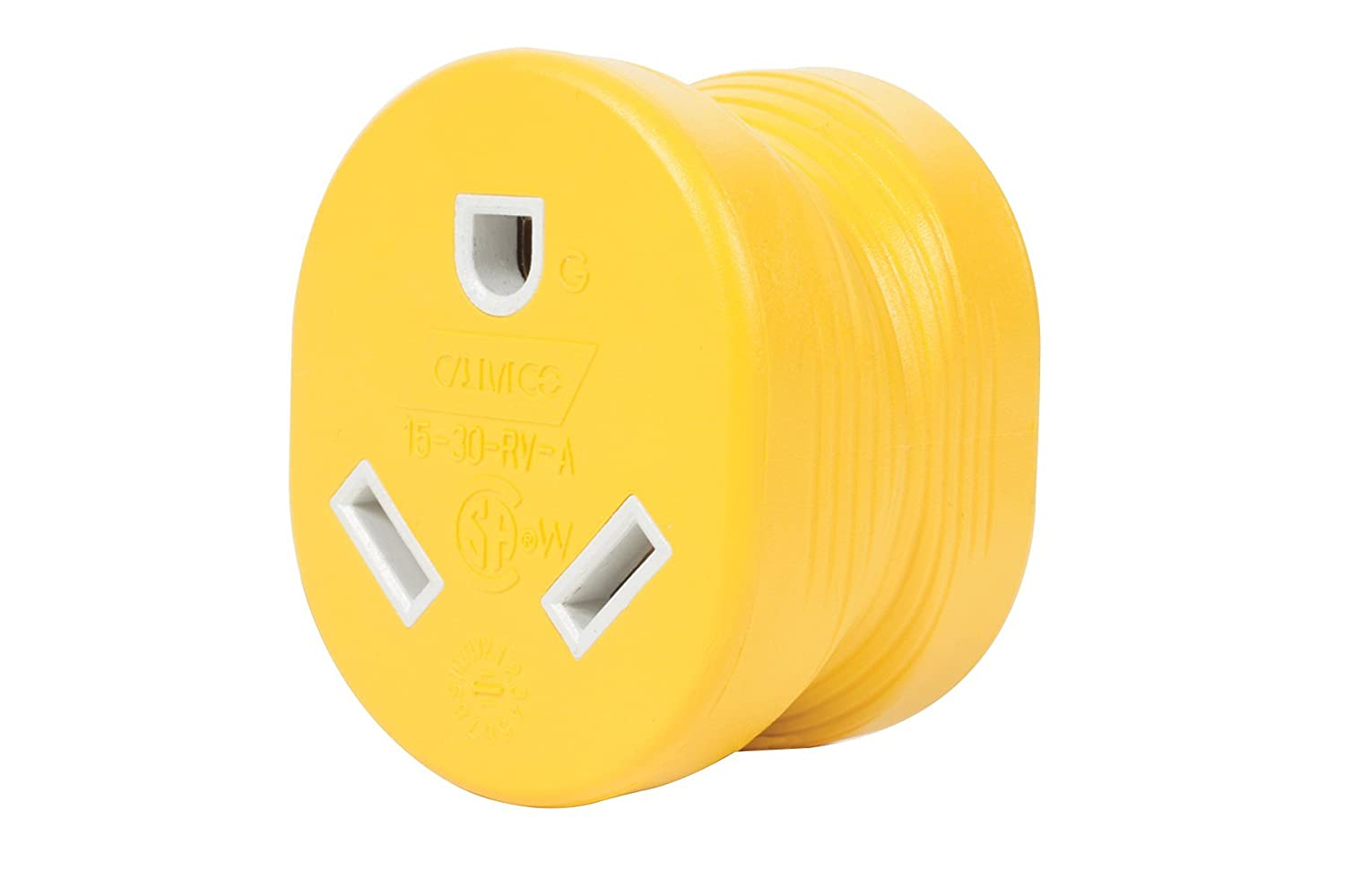 Amazon.com: 30A -> 15A Adapter This allows us to use our 30A power cord in a standard household electrical outlet.