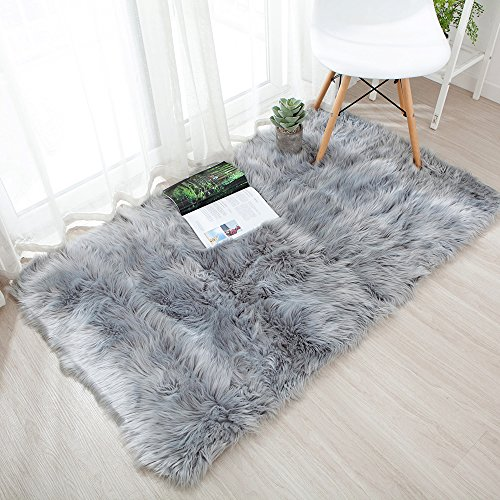 OJIA Deluxe Soft Faux Sheepskin Shaggy Area Floor Rugs Children Play Carpet for Living & Bedroom Sofa (3 x 5ft, Grey)