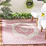 Safavieh Courtyard Collection CY8751-39712 Light Grey and Fuchsia Pink Indoor Outdoor Area Rug (6'7' x 9'6')