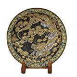 Jpanese traditional ceramic Kutani ware. Decorative Plate with a stand. Funds picture of dragon. With wooden box. ktn-K5-1403