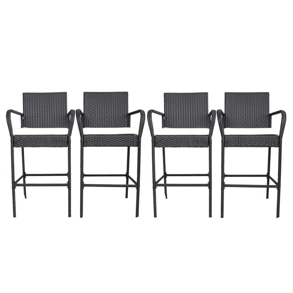 Jetime Patio Furniture Bar Stools 4pcs Rattan Chairs Outdoor Black Wicker With Arm Bar Set Garden Outdoor Dining Chair Beige Cushion Garden Outdoor Dprd Tasikmalayakab Go Id