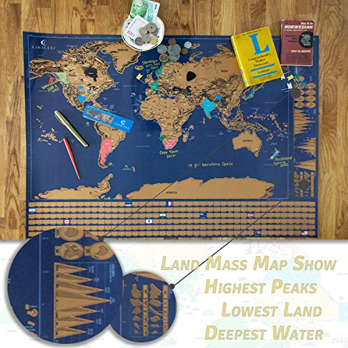 Scratch off world map poster with us states and country flags scratch off world map poster gumiabroncs Image collections