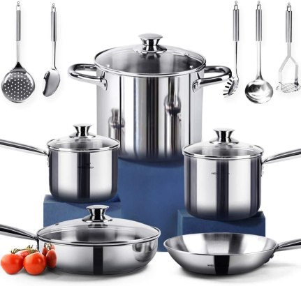 HOMI CHEF 14-Piece Nickel Free Stainless Steel Cookware Set - Nickel Free Stainless Steel Pots and Pans Set - Stainless Steel Non-Toxic Cookware Set - Stainless Steel Healthy Induction Cookware Sets