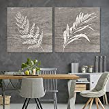 wall26 - 2 Panel Square Canvas Wall Art - White Folliage Wood Effect Canvas - Giclee Print Gallery Wrap Modern Home Decor Ready to Hang - 24'x24' x 2 Panels