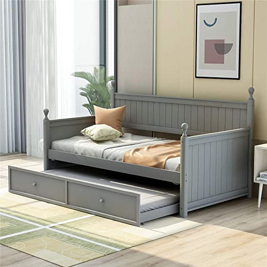Amazon Com Wooden Twin Daybed With Trundle Bed Space Saving Sofa Bed For Bedroom Living Room Grey With Trundle Kitchen Dining