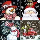 4 Pack 5D Full Drill Christmas Diamond Painting Kit,KISSBUTY DIY Diamond Rhinestone Painting Kits for Adults and Beginner Diamond Arts Craft, 9.8 X 9.8 Inch (Christmas Diamond Paintings)