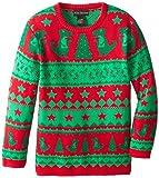 Alex Stevens Boys' Ugly Christmas Sweater Dinosaur Fairisle, Red Combo, Large