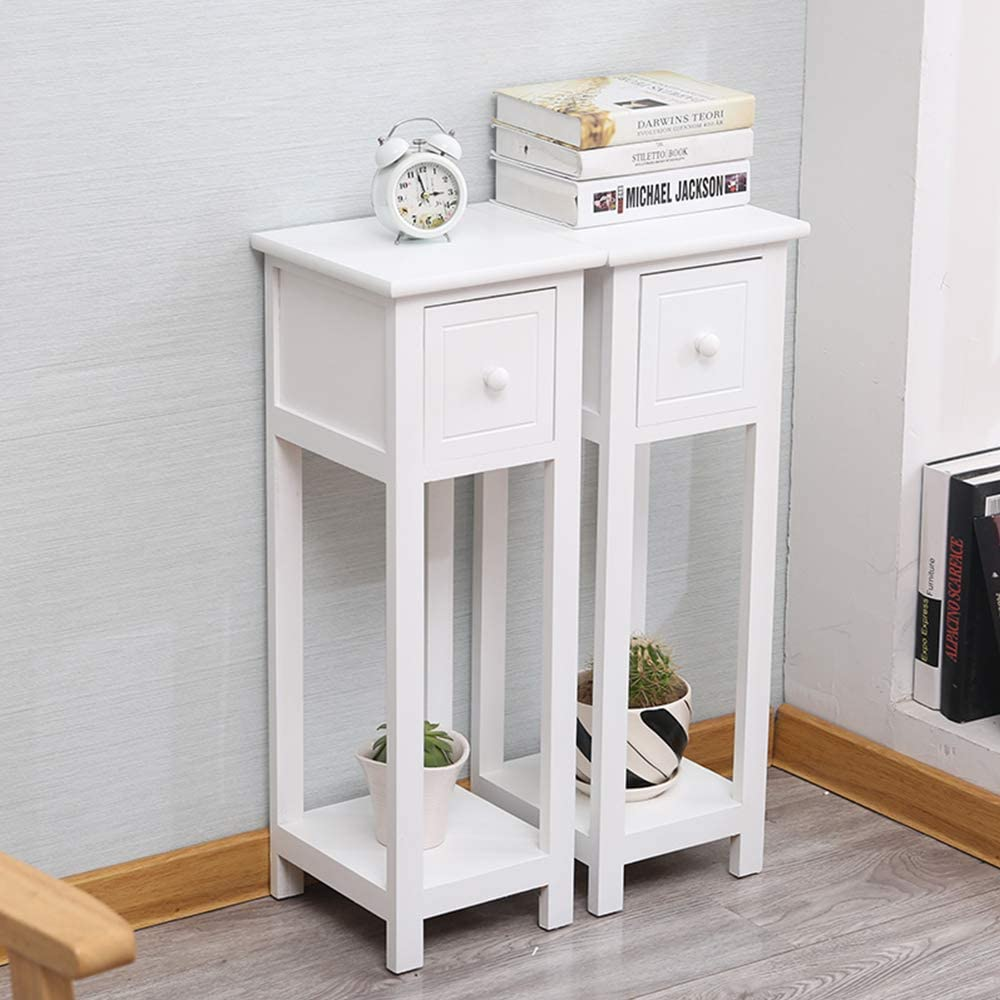 Exqui Bedside Tables Set Of 2 With Drawer White Slim Living Room Tables Small Nightstand With Drawers Telephone End Table For Small Space 25x25x70cm G139w2 Amazon Co Uk Kitchen Home