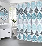 Seavish Fabric Shower Curtain, Light Blue Damask Motif Boho Cloth Shower Curtains for Bathroom Ethnic Tribal Design, Heavy Weighted and Waterproof, 72 x 72