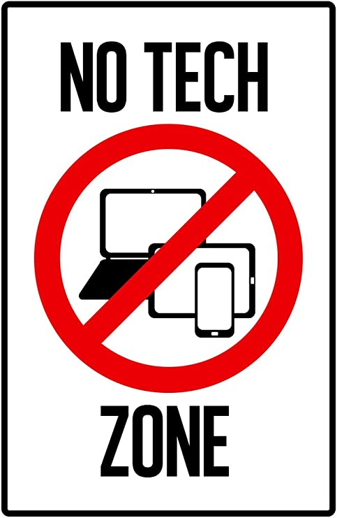 Amazon.com: Warning Sign No Tech Zone Computers Laptop Tablet ...