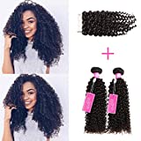 ISEE Hair Virgin Malaysian Deep Curly Jerry Curly Human Hair 3 Bundles With 4x4 Free Part Lace Closure,100% Unprocessed Human Curly Hair Extensions(18'&20'&22'with 16'closure)