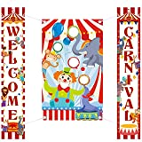 Carnival Decoration Porch Sign Carnival Toss Bean Bags Circus Birthday Party Welcome Banner Carnival Toss Games with 3 Bean Bag Decoration Set Circus Carnival Party Supply Decor