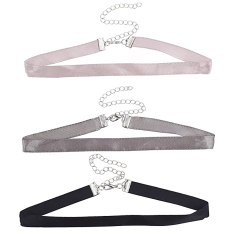 Lux Accessories Three 3 Faux Satin Blush Grey Black Choker Necklace Set