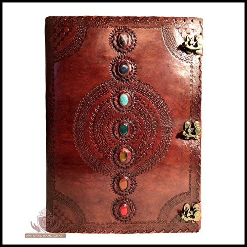 Seven Chakra Medieval Stone Embossed Handmade Leather Journal Book of Shadows Notebook Office Diary College Book Poetry Book Sketch Book 14 x 22 Inches