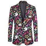 Men's High- end Floral Printed Modern Slim Fit Festival Jacket Blazer (Floral,L)
