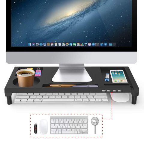 VOOPII モニター台 机上台 パソコン台 モニタースタンド 4 USBポート パソコンスタンド 収納力抜群 便利 ブラック