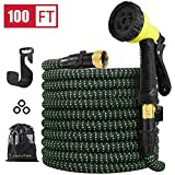 HiYuToy Garden Hose-100ft Expandable Hose - Heavy Duty Flexible Leakproof Hose-10-Pattern High-Pressure Water Spray Nozzle & Bag & Plastic Holder.No Kink Tangle-Free Pocket Water Hose (100FT)