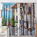 NUOMANAN Rod Pocket Curtains Rustic,Old Houses in a Small Town Sea and Flower Pots at Windows Oil Painting Style,Beige Pale Blue,for Room Darkening Panels for Living Room, Bedroom 84'x100'