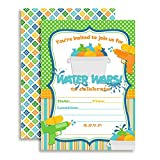 Water Wars Boys Birthday Party Fill in Invitations Set of 20 with envelopes by AmandaCreation