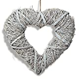 The Welcome Wreath Heart, 11 Inches Tall, Rustic Rattan, Weathered White,  by Whole House Worlds