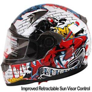 Graffiti Street Art Gloss White Dual Visor Full Face Motorcycle Helmet DOT