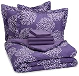 AmazonBasics 7-Piece Bed-In-A-Bag Comforter Bedding Set - Full or Queen, Purple Floral
