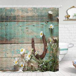 Horseshoe & Barn Wood Rustic Shower Curtain