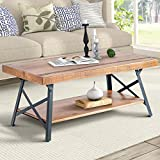 """Product review for Harper&Bright Designs 43"""" Wood Coffee Table with Metal Legs, End Table/Living Room Set/Rustic Brown (Brown Coffee Table)"""
