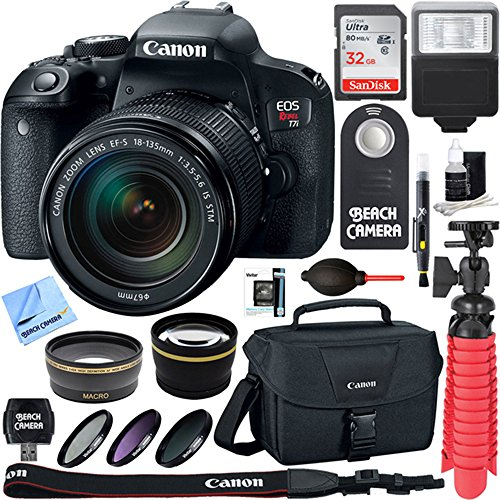 Canon EOS Rebel T7i DSLR Camera with EF-S 18-55mm IS STM & 70-300mm Lens + 64GB Class 10 UHS-1 SDXC Memory Card + Accessory Bundle